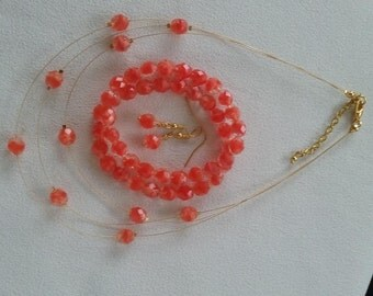 SALE Coral Glass Floating Necklace Earrings and Free Bracelets