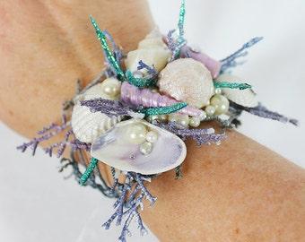 Mermaid Bracelet in Blue and Purple, Mermaid Bracelet, Seashell Wrap, Wedding Accessory, Costume