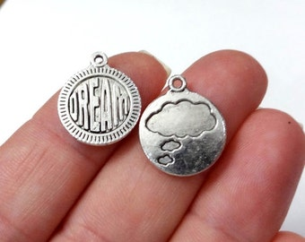 "10 ""DREAM"" Cloud (double sided) Charms 18x15mm, Hole:Approx 1-3mm"