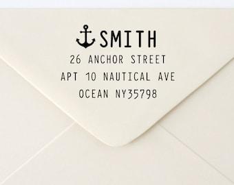 Custom Rubber Stamp - Custom Address Stamp - Return Address Stamp - Personalised Address Stamp - Gift - Anchor