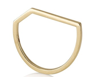 Lili-Rose Ring, 14k solid gold, Modern wedding ring, thin wedding band, unique wedding bands for women,14k solid gold ring, geometric gold