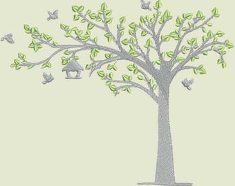 Tree With Birds Digitized Embroidery Design (single)