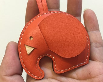 Small size - Laura the Elephant cowhide leather charm ( Orange )