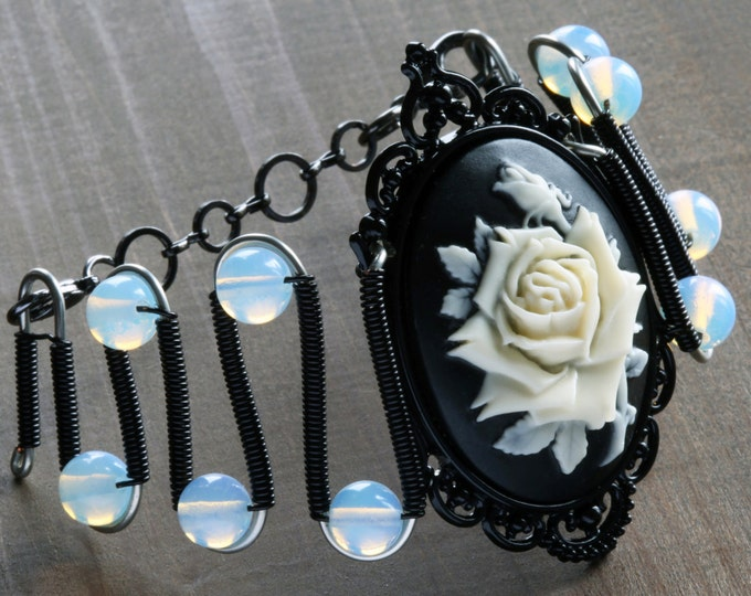 Gothic Chic Bracelet - Black and Ivory rose Cameo - Opalite Moonstone