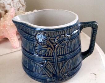 "Batter Pitcher Antique Cobalt Blue and White Stoneware Leaf 5 1/2"""