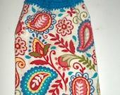 Hanging Dish Towel - Bright Blue Paisley - Crochet Top Towel - Red and Blue - Cotton Dish Towel - Hanging Tea Towel - Kitchen Towel