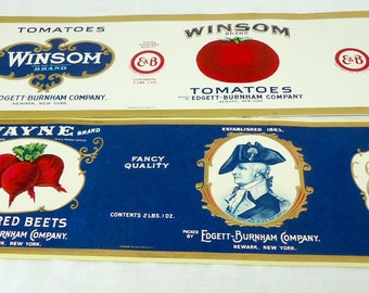 Edgett-Burnham Company Vintage Vegetable Can Labels Tomatoes Beets