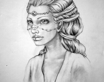 "Original pencil drawing, ""A Fairy Queen, Kaia"""