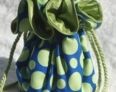 Dots Jewelry Pouch in lime and blue, Jewelry Travel Organizer, Jewelry Bag, Jewelry Tote