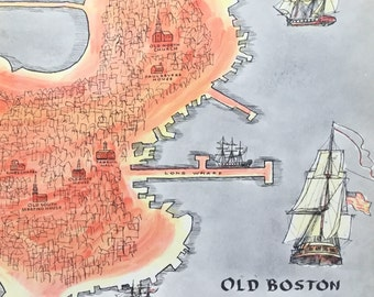 Boston Massachusetts Map Vintage Frame Worthy Travel Illustrated Book Pages Set of Two