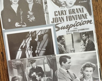 Suspicion Starring Cary Grant & Joan Fontaine Hitchcock Classic Vintage Movie Collage, Scrapbook and Planner Kit Number 2171