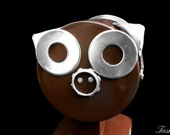 Steampunk Robot Piggy Bank Sculpture, Recycled Robot Sculpture, Pig Bank, Found Object Art, Assemblage Art, Geekery, Piglet, Functional Art