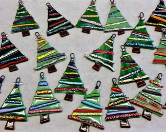 Christmas Ornament - Fancy Fused Glass Christmas Trees (G-30)