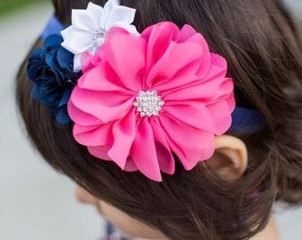 Baby Headband - Hot Pink and Navy headband For Baby- Baby Girl Headband -Navy Blue Flower Headband -Baby Headband - Photo Prop