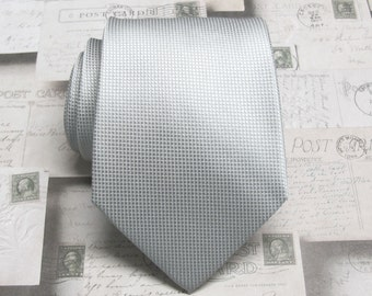 Silver Gray Ties. Mens Ties. Silver Gray Checkers Pattern Silk Necktie With Matching Pocket Square Option