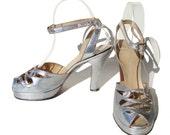Vintage 40s Platform Shoes Pin Up Peep Toe Silver Metallic Leather Art Deco Sandals Sz 7 - 7.5