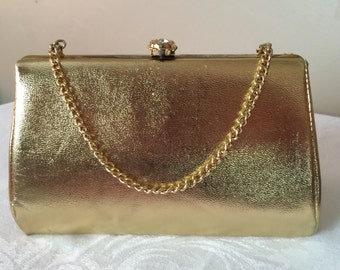 Gold Evening Clutch Purse Rhinestone Clasp