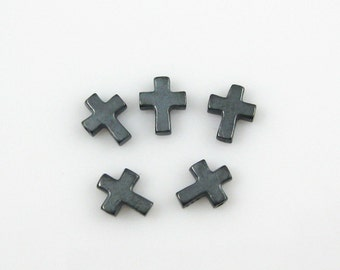 Oxidized Sterling Silver Cross Connector,Tiny Cross Charm, Small Crucifix Jewelry Charm - 925 Jewelry Findings (7mm -3 pcs) - SKU: 201235-OX