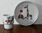 Reserved for Maggie Arabia Finland child's Cup and Bowl,giraffe, 1960's,