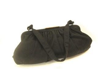 Black wool pleated vintage purse handbag