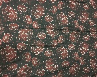 Burgundy Mums Floral - Faux Silk Brocade Fabric - 1 Yard