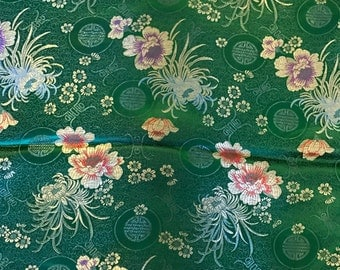 Emerald Green Floral Medallions - Faux Silk Brocade Fabric - 1 Yard
