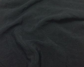 Crinkle Silk Crepe Fabric - Black - 1 Yard