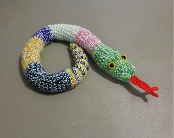 Door Snake Window Sitter Stuffed Snake Mixed Colors, Crochet Draft Dodger,  Draft Snake 28 inches
