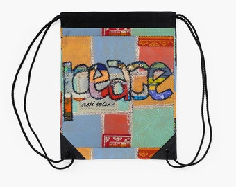 Cinch Backpack,Drawstring Bag,Carry All Pouch,Boho Bag,Festival Bag,Going off to College Gifts,Unique Back to School Supplies,Market Bag