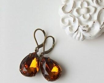 On SALE / CIJ Sale / Topaz Rhinestone Earrings, Dangle Earrings, Golden Brown, Vintage Glass Jewel