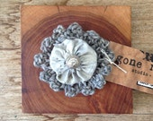 eco dyed silk and cotton hair clip with vintage button