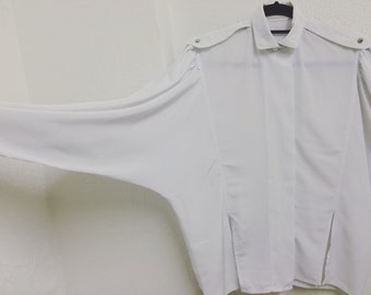 Vintage 1980s white shirt, quirky, fun and unusual, size small, excellent condition