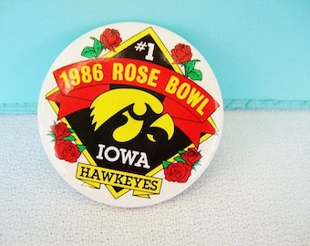 vintage 1986 rose bowl lapel pin, tournament of roses, iowa pin