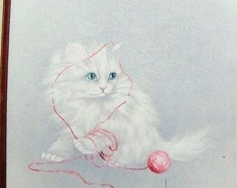 vintage white cat original oil painting framed signed Harris