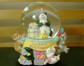 Vintage Angus & Friends - San Francisco Music Box Co - Happy Birthday Snow Globe