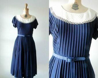 Jacinthe des bois dress | vintage 1950s dress | pleated 50s dress