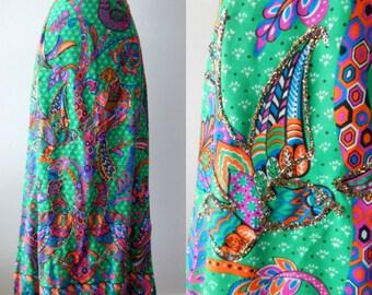 Malbe skirt | vintage 60s skirt |  Novelty print 60s skirt