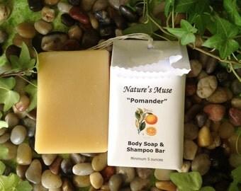 "Orange and Clove Soap and Shampoo Bar, Vegan Friendly, 5 to 6 ounce bar, ""Pomander"""