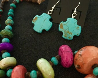 Gorgeous-Day of The Dead Chunky Turquoise Beaded Statement Necklace and Earrings Unique-Every Design Tells A Story
