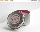 MOVING SALE Strawberries and Cream, Scented Soy Candle, Valentine's Candle, red, 4 oz, sweety, fruity candle