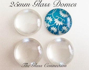 Fast Shipping 20 Clear 1 inch Glass DOMES Cabochon Circles 25mm Round Supplies Pendant Jewelry Making Cabs