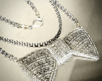 Beaded Bow Tie // Vintage Necklace