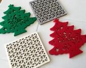 Felt Fabric Coasters - Holiday and Everyday - Set of 4 - Storage and Organization handmade