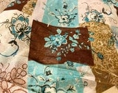 Mesh Fabric Turquoise Brown White 60 inches wide - By the Yard Semi Sheer