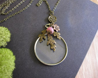 Steampunk Necklace, Vintage Optical Lens, Woodland Necklace, Oak Leaf, Pale Pink, Flower, Vintage Inspired, Cosplay Necklace, Goth Jewelry