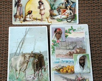 Arbuckles Coffee Antique Coffee Trade Cards - lot of 3 - Cows, Mecca Arabia, Ancient Judea - Victorian Trading Advertising Cards