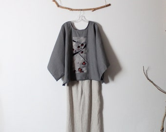 over size gray linen top with vintage kimono panel ready to wear
