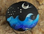 Lampwork Seascape Bead, Moon and Stars, #F545 by CC Design