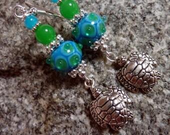 Turtle Earrings with Blue & Green, Handmade Lampwork Beads, Summer, Beach