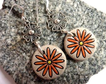 Orange Daisy Earrings, Ceramic Drops, Handmade, Sterling Earwires, Fun Earrings